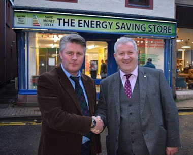David Morrison with Ian Blackford, MP at The Energy Saving Store, Dingwall High Street